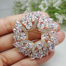 New Luxurious Woman Flower Wreath Gold Tone Brooch Pin Clear Zircon Crystal