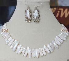 Beautiful genuine Freshwater White Pearl Biwa baroque Pearl Necklace +Earrings