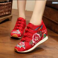 Women Embroidered Wedge Shoes Flower Ankle Strap Pump Chinese Ethnic Shoes