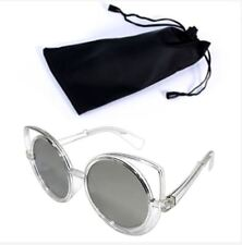 Circular Sunglasses Clear Frame Silver Lens Shade with Pouch