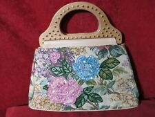 Vintage Tapestry Beaded Sequin Handbag Wood Handle Gold Stud Made in China