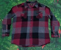 Lee 101 Black Gray Maroon Thick Plaid Flannel Long Sleeved Shirt Size XL