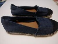 Merona Womens Navy Blue Canvas Shoes Size 7.5 Slip On Espadrille