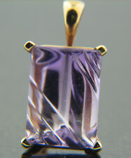 6.0 ct Genuine Amethyst Pendant set on solid 14K tellow Gold Mounting