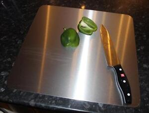 300mm x 300mm stainless steel chopping board. 1.5mm thick. Brushed finish