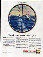 1944 VEEDOL MOTOR OIL AD- TIDE WATER ASSOCIATED- ENEMY  SHIP in the SIGHTS