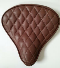 Custom Bates Style Leather Diamond Stitch Large Brown Seat Harley Bobber Chopper