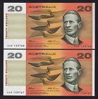 Australia R-415. (1993) 20 Dollars - Fraser/Evans.. UNC - CONSECUTIVE Pair