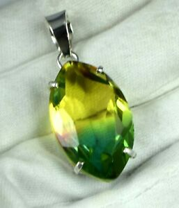 38.25 Ct Marquise Alexandrite 925 Sterling Silver Pendant AGI Certified H3645