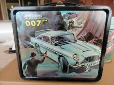 Vintage 1966 James Bond 007 Secret Agent Metal Aladdin Lunch Box W Thermos