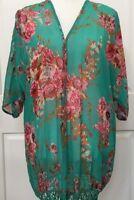 Womens Fashion Shrug Cardigan Large Boho Gypsy Green Floral Fringes Kimono Loose