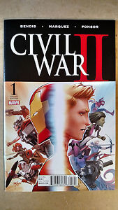 CIVIL WAR II #1 1ST PRINT MARQUEZ VARIANT MARVEL COMICS (2016) IRON MAN