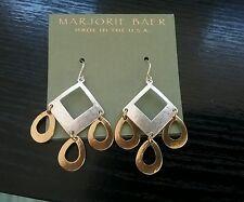 Marjorie Baer Dangle Earrings Two Tone Chandelier New