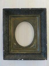 416 - Ancien cadre en bois et stuc noir - 19ème siècle - Vue ovale