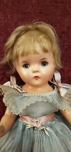 """Antique 1920s All Composition Girl 14"""" Doll Unmarked Closed Mouth Dressed Cute"""