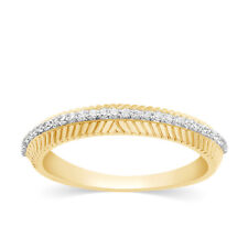 1/6 Ct Diamond Stackable Band 14k Yellow Gold Vintage Wedding Anniversary Ring