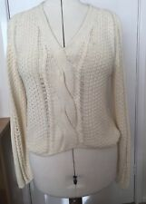 Marc Cain Ladies Cream Cotton Blend Cable Long Sleeved Jumper Size N 3 UK 10-12