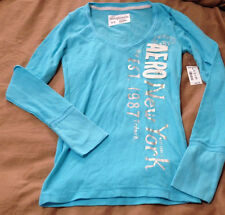 NWT Womens AEROPOSTALE Vertical Text Graphic V-neck T-Shirt, Blue, $29.50