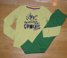 GYMBOREE MERRY & BRIGHT YELLOW THERMAL TOP GREEN PANTS GIRLS 4