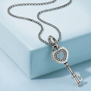 NWT Brighton AMORETTE KEY Amulet Starter Necklace Set Charm Silver Crystals $65