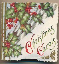 "Victorian Die Cut Emb. Christmas Card ""Christmas Carols"" Holly, Heartfelt Wishes"