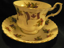 ROYAL ALBERT TEA CUP AND SAUCER  CANADA FROM SEA TO SEA FLAGS AND MAPE LEAVES