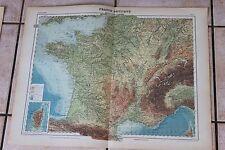 Ancienne carte Atlas universel Géographie 1919 N°7 France physique - Hachette