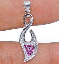 Pink Sapphire & White Topaz 925 Solid Sterling Silver Pendant Jewelry