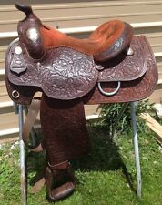 """Used/vintage15"""" Dale Chavez Western show saddle hand tooled w/engraved silver"""