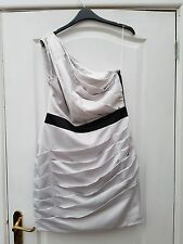 LIPSY SILVER GREY SATIN BLACK TRIM FULL SIDE ZIP GATHERED ONE SHOULDER DRESS 14