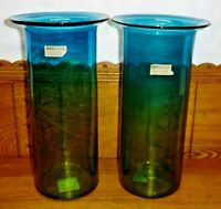 "Pair Of Amici Home Mexico Blue / Green Glass Vases- Sonora - 13"" & 13 1/4"""
