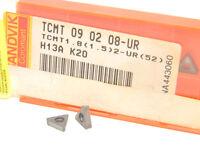 10 NEW SURPLUS SANDVIK TCMT 1.8(1.5)2-UR(52) H13A CARBIDE INSERTS TCMT 090208-UR