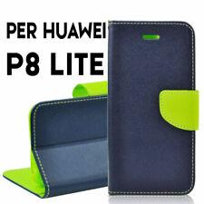 Flip Cover Custodia a Portafoglio Huawei Ascend P8 Lite Blu Clip magnetico Libro