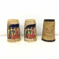 3 x 13cm Tall Ceramic Unbranded Beer Steins #939