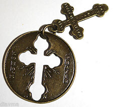 Bronze Pocket Cross - Lords Prayer - Christian Jesus Christ God