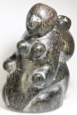 "Inuit Eskimo soapstone carving sculpture ""Mother & Child"" by late Tuna Iquliq"
