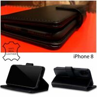 iPhone 10 Cowhide Real Leather Wallet Executive Book High Durability Case Black