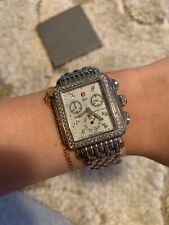 Michele Women's Diamond Deco XL Watch Silver Swiss Movement Preowned Chronograph