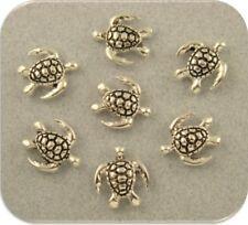 Sea Turtle Beads Mini Loggerhead Tortoise Silver 2 Hole Sliders Sand Sea Qty 7