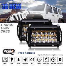2X Tri Row 216W 4.7inch CREE LED Work Light Bar FLOOD Offroad Driving 4X4WD ATV