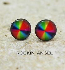 Multicoloured Stud Earrings - Stainless Steel - Ladies Girls Gift, In a Gift Bag