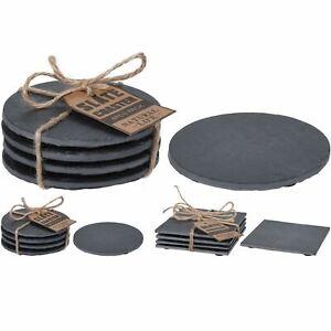 Set of 4 Natural Slate Table Placemat Coasters Stylish Slate Drinks Coaster Set