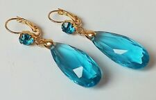 Chandelier Ohrhänger Ohrringe Strass Acryl Tropfen türkis blau aqua gold