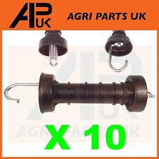 10 x Heavy Duty Electric Fence Arch Hook Gate Handle + Spring Inside Insulator