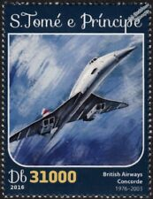 BA British Airways CONCORDE Arliner Aircraft Stamp #1 (2016 St Thomas & Prince)