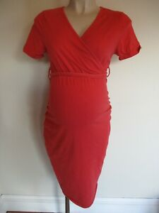 DOROTHY PERKINS MATERNITY & NURSING CORAL T-SHIRT DRESS SIZE 10