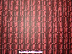 DOLLS HOUSE RED TILE ROOF MINIATURE WALL PAPER, 12 TH SCALE NEW, JULIE ANNS