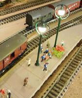 5 grüne LED Ringlampen Bahnsteiglampen, ca. 65 mm hoch (aus Metall)