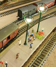 3 grüne Ringlampen LED Bahnsteiglampen, ca. 65 mm hoch, aus Metall, warmweiß