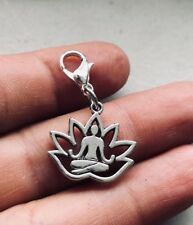 Lotus Silver Dangle Clip Flower Charm Yoga Meditation Love pendant bhumi 1""
